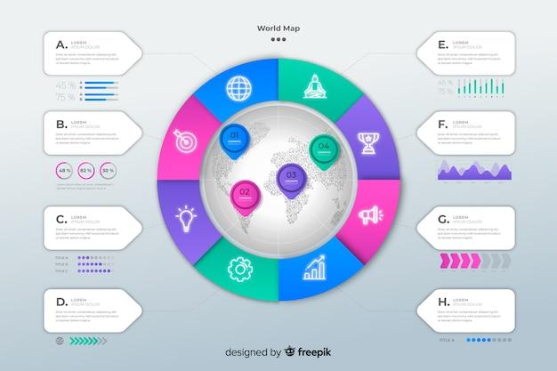 Modello di infografica con mappa del mondo
