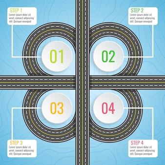 Modello di infografica con mappa stradale di trifoglio.