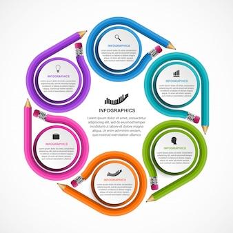 Modello di infografica con matita colorata.