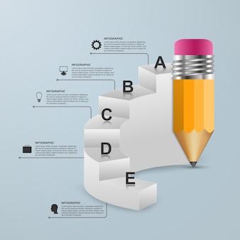 Modello di infografica con matita e passaggi.