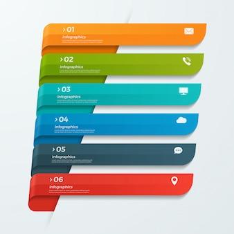 Modello di infografica con nastri frecce banner 6 opzioni
