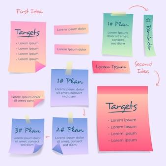 Modello di infografica con note adesive gradiente