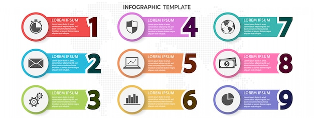 Modello di infografica con numeri 9 opzioni.