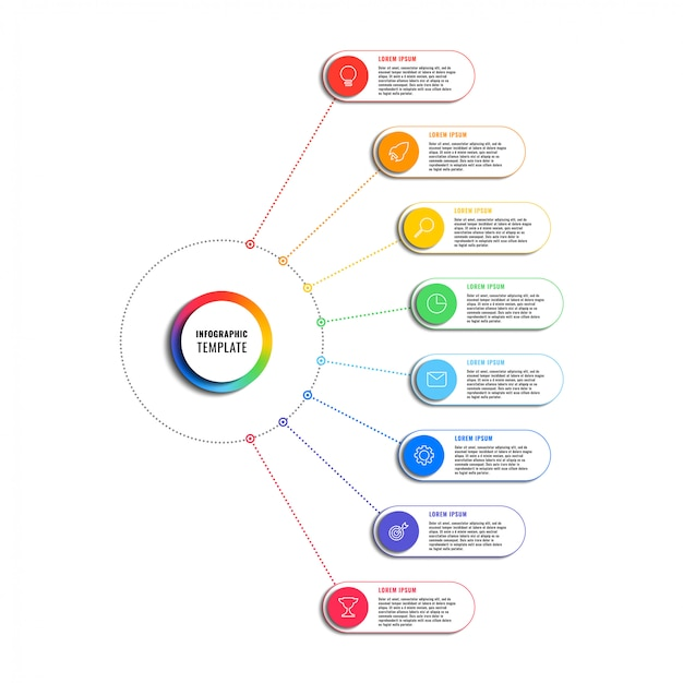 Modello di infografica con otto elementi rotondi su sfondo bianco. visualizzazione dei processi aziendali moderni con icone di marketing di linea sottile. illustrazione facile da modificare e personalizzare.