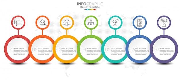 Modello di infografica con passaggi e processo per la progettazione.