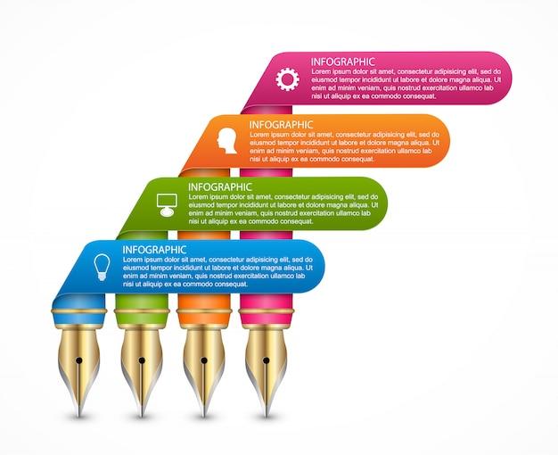 Modello di infografica con penne a inchiostro colorate.