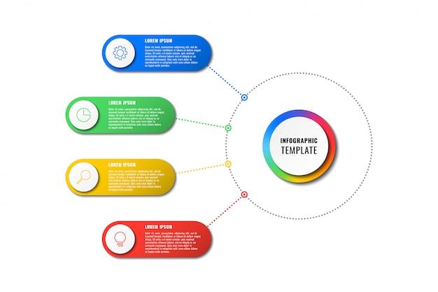 Modello di infografica con quattro elementi rotondi su sfondo bianco. visualizzazione dei processi aziendali moderni con icone di marketing di linea sottile. illustrazione facile da modificare e personalizzare.