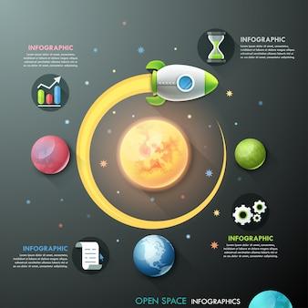 Modello di infografica con razzi e pianeti