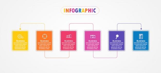Modello di infografica con sei passaggi