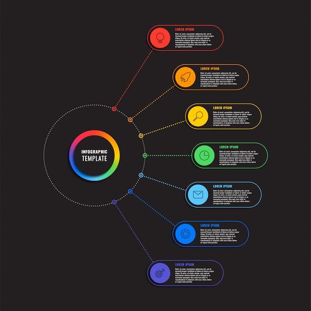 Modello di infografica con sette elementi rotondi su fondo nero