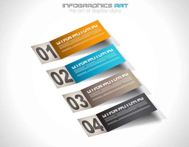 Modello di infografica con tag di carta