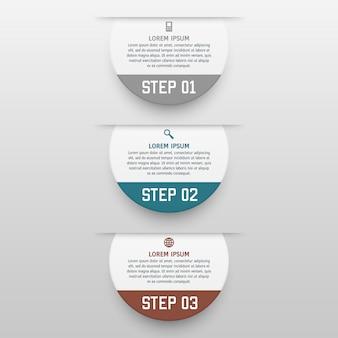 Modello di infografica con tre opzioni in stile materiale. può essere utilizzato come grafico, banner numerato, presentazione, grafico, report, web ecc.