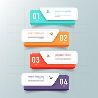 Modello di infografica creativa 4 passaggi