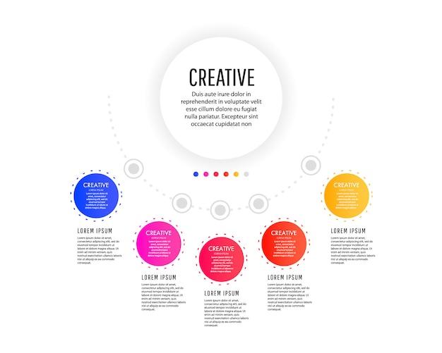 Modello di infografica creativo con elementi tondi colorati, puntatori e campi di testo