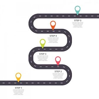 Modello di infografica. crescita strada tortuosa con puntatori a spillo.