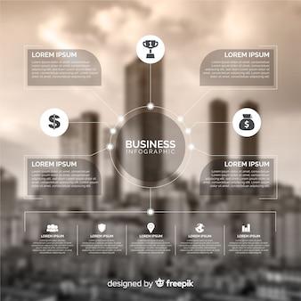 Modello di infografica di affari con foto
