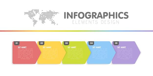 Modello di infografica di affari. cronologia con 5 passaggi freccia, cinque opzioni numeriche.
