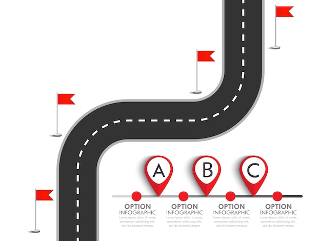 Modello di infografica di affari e di viaggio con bandiere e luogo per i tuoi dati