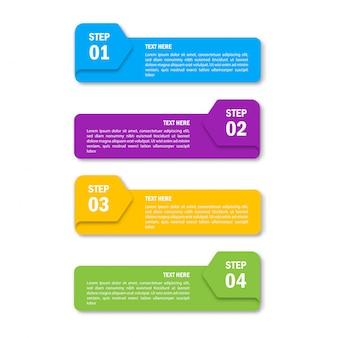 Modello di infografica di affari. numeri quattro passaggi isolati su sfondo bianco.
