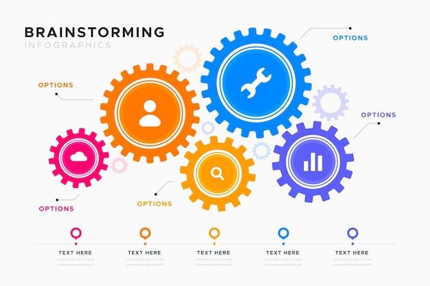 Modello di infografica di brainstorming