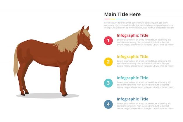 Modello di infografica di cavallo