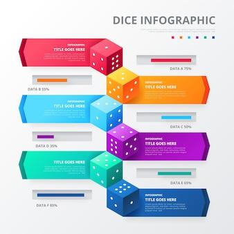 Modello di infografica di dadi