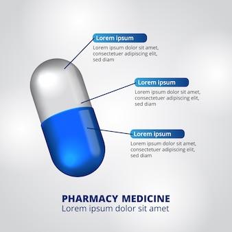 Modello di infografica di dati di farmacia pillole illustrazione