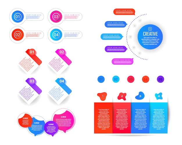 Modello di infografica di presentazione con forme sfumate con elementi, numerazione degli elementi
