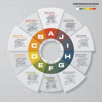 Modello di infografica di presentazione di 10 opzioni di business.