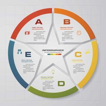 Modello di infografica di presentazione di 5 opzioni.