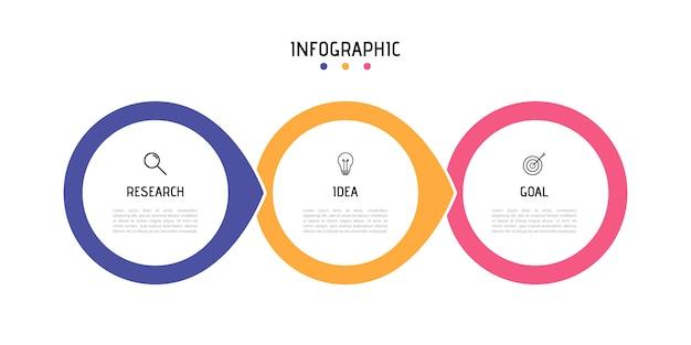Modello di infografica di processo aziendale. elementi circolari colorati con numeri 3 opzioni o passaggi.