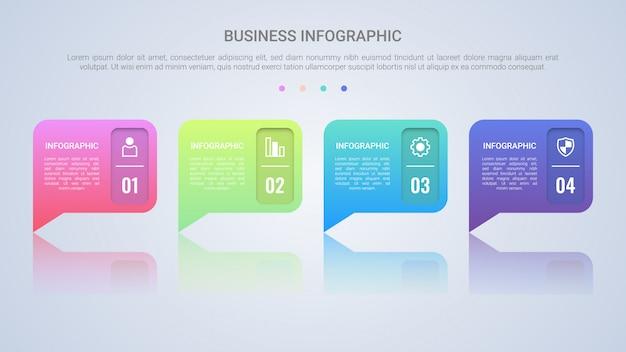 Modello di infografica discorso bolla