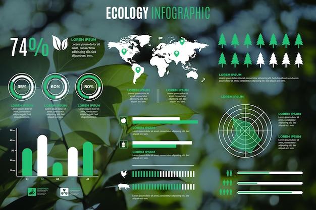 Modello di infografica ecologia con foto