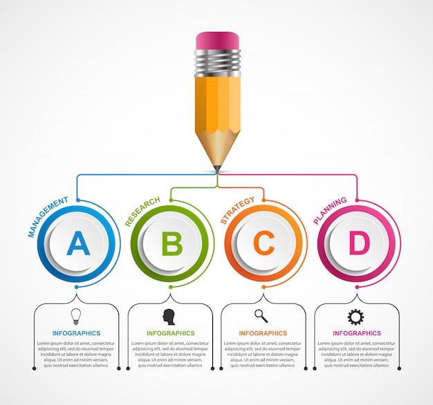 Modello di infografica educativo.