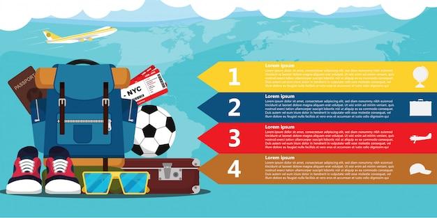 Modello di infografica elementi di viaggio