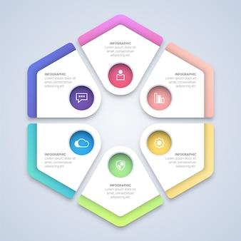 Modello di infografica esagono colorato