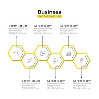 Modello di infografica esagono giallo 5 passaggi