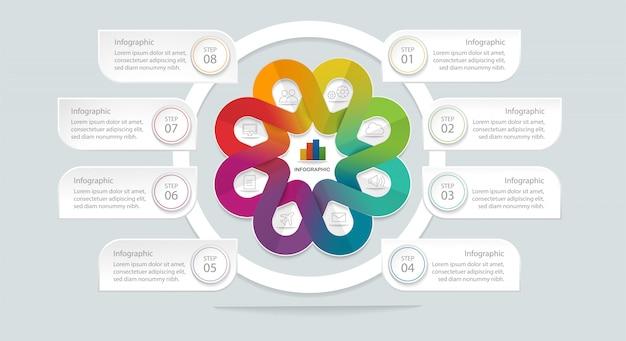 Modello di infografica geometrica piatta con 8 opzioni