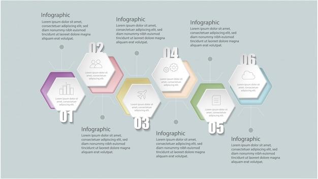 Modello di infografica geometrica piatta con opzioni per il layout del flusso di lavoro, diagramma, opzioni numeriche, opzioni di incremento,