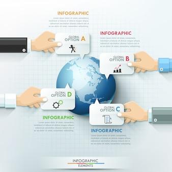 Modello di infografica globale mani di affari