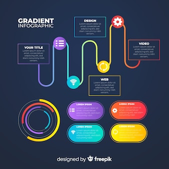 Modello di infografica gradiente piatto