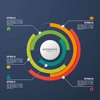 Modello di infografica grafico a cerchio per la visualizzazione dei dati.