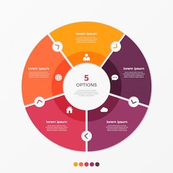 Modello di infografica grafico cerchio con opzioni.