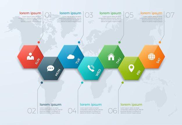 Modello di infografica grafico temporale con 7 opzioni