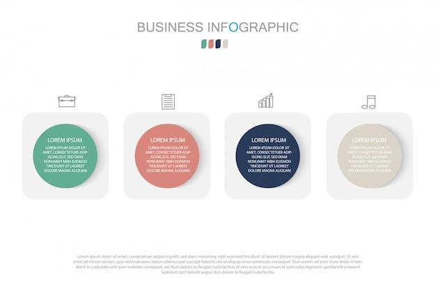 Modello di infografica in quattro fasi