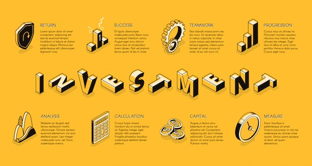 Modello di infografica isometrica di investimento