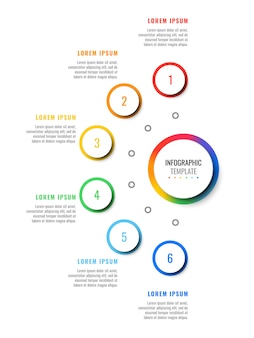 Modello di infografica layout sei passaggi con elementi realistici 3d rotondi. diagramma di processo per brochure, banner, relazione annuale