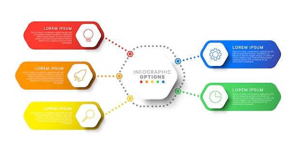 Modello di infografica layout semplice cinque passaggi con elementi esagonali. diagramma di processo aziendale per brochure, banner, relazione annuale e presentazione