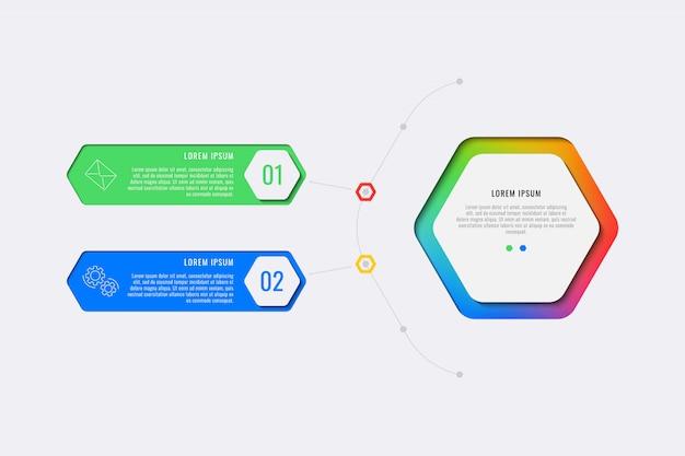 Modello di infografica layout semplice due passaggi design con elementi esagonali. diagramma di processo aziendale per banner, poster, brochure, relazione annuale e presentazione con icone di marketing.