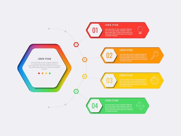 Modello di infografica layout semplice quattro passaggi design con elementi esagonali.